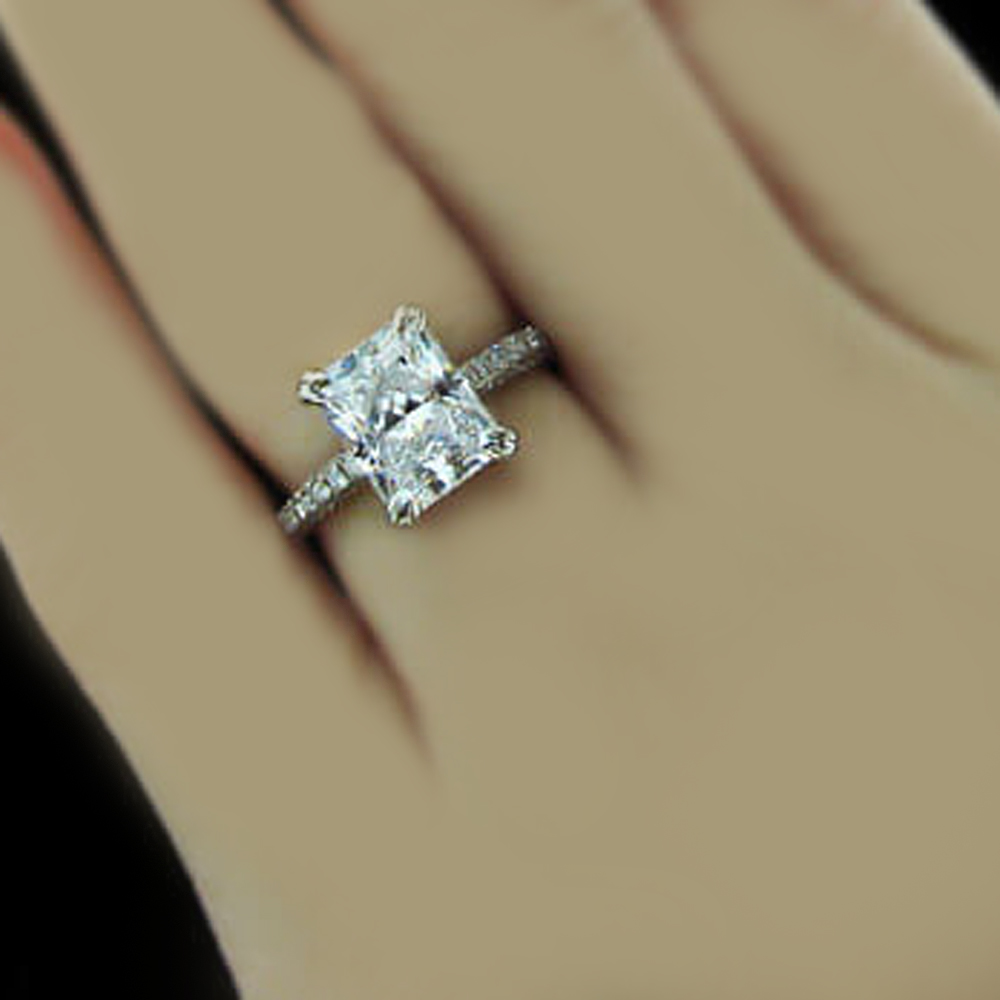 1 80 Ct Radiant Amp Round Cut Diamond Engagement Ring Gia