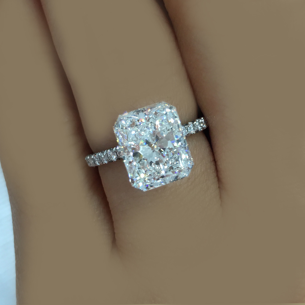 Radiant Cut Platinum Diamond Engagement Ring Gia Certified