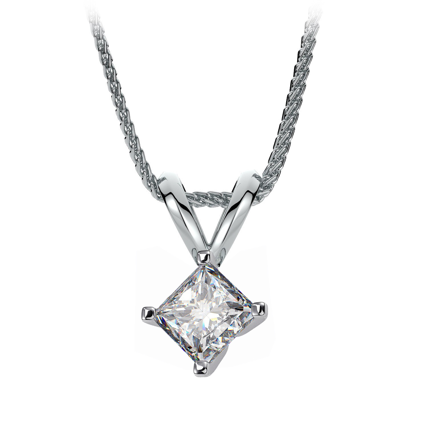 princess set channel pendants drop diamond image gold cut white pendant jewellery
