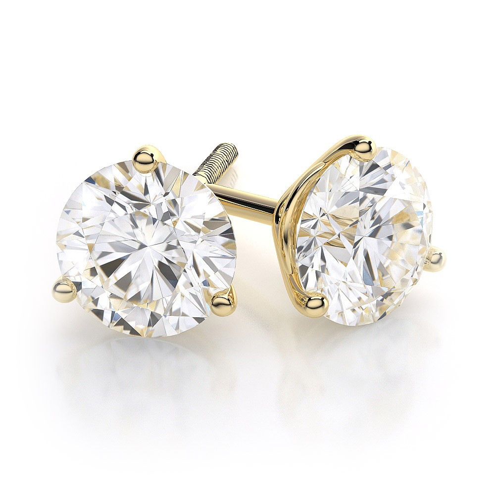 Gia Certified Diamond Stud Earrings 4 Carat Round Brilliant Cut 18k Gold Want My