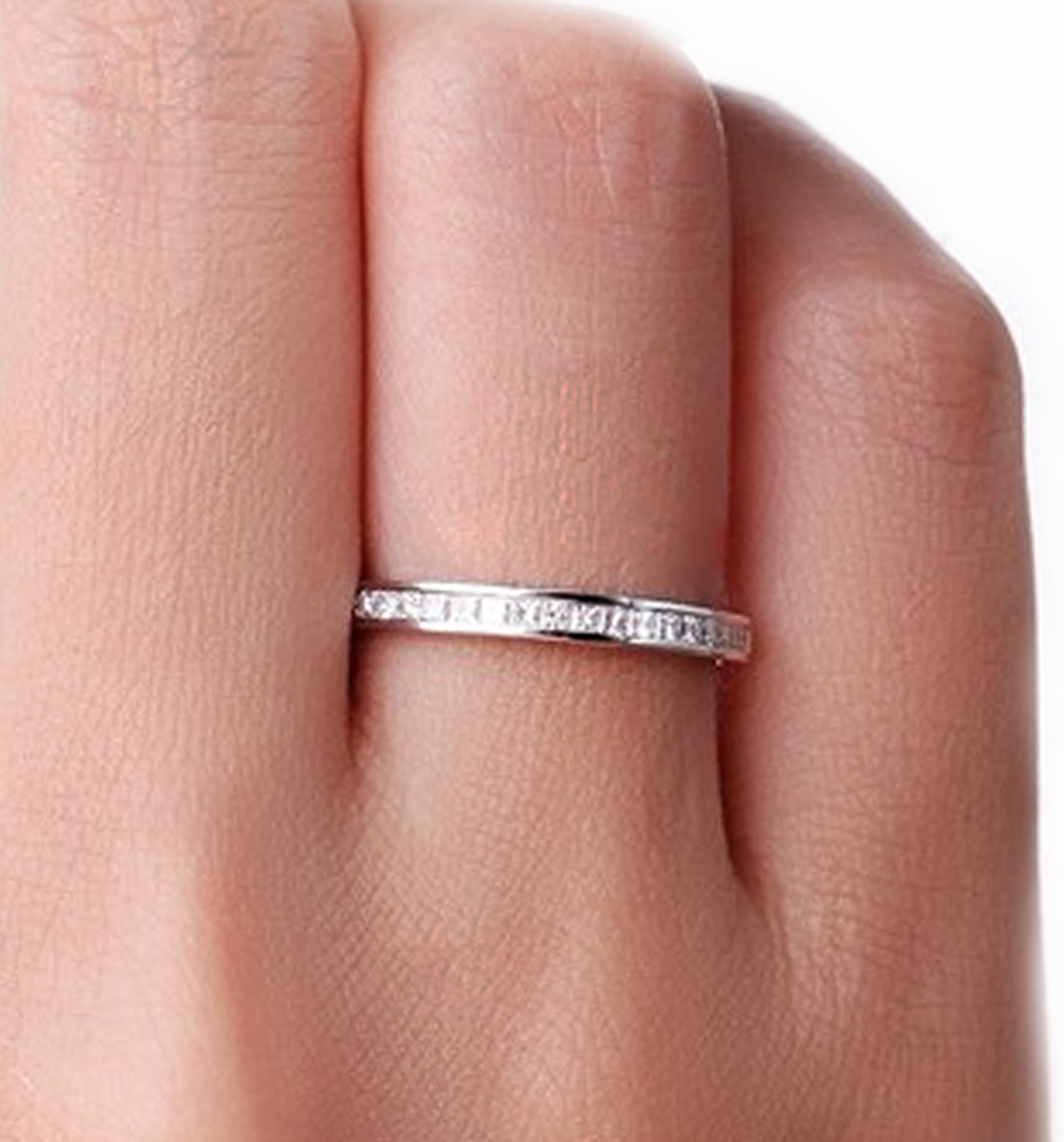18k White Gold 1.50 Carat Princess Cut Diamond Eternity Band Custom ...