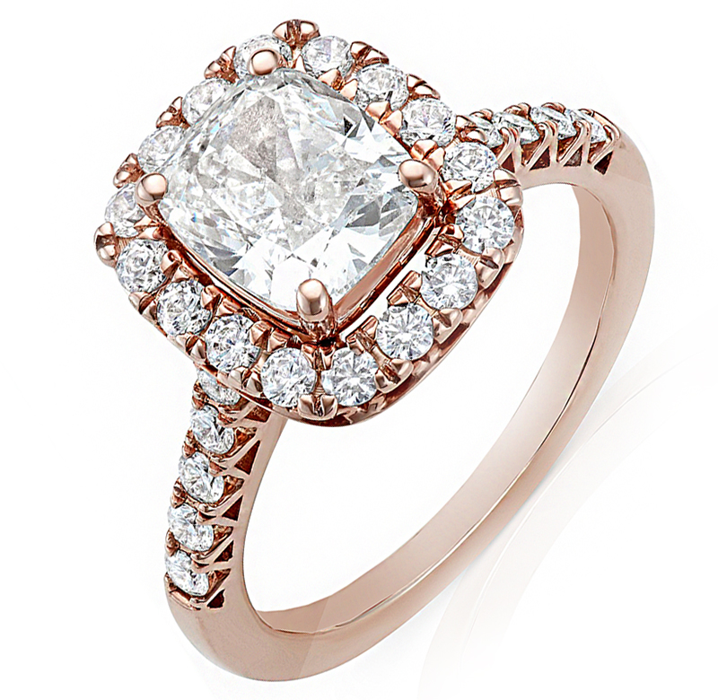 3.25 Carat Cushion And Round Cut Halo Diamond Engagement